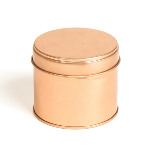 Rose gold welded side seam tin with slip lid