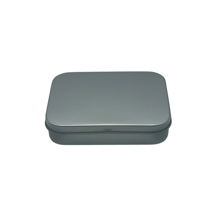 Silver Rectangular Hinged Stationery Tins