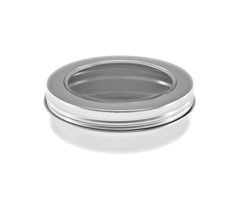 Silver Round Aluminium Tin Container With EPE Lined Screw Lid with window