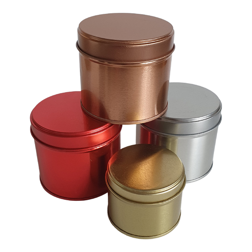 Red, gold, silver and rose gold welded side seam tins stacked