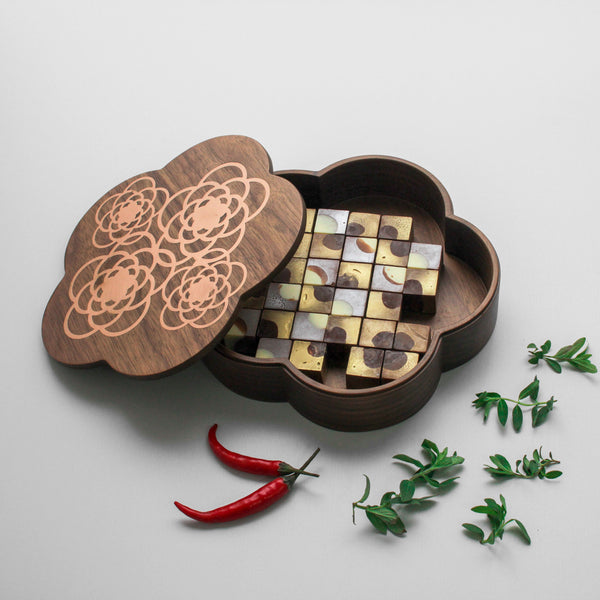 Flower Wooden Box With Copper Enlay