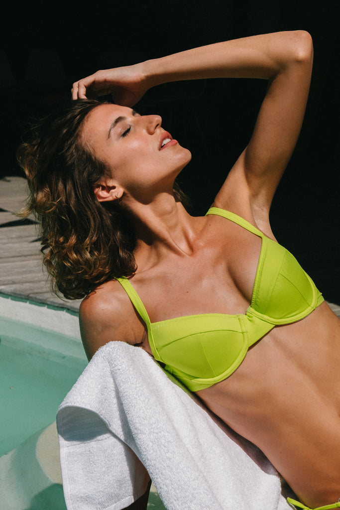 Cosmos underwire bikini top in Lime (ECONYL®)