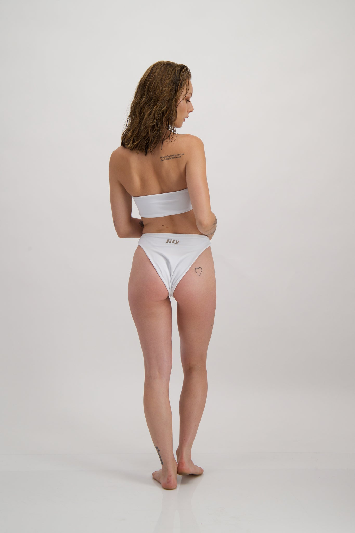 Forget-me-not bikini bottom in Blanc