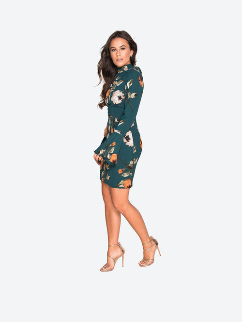 KIRI FLORAL OPEN BACK DRESS - London Clothing Company Official