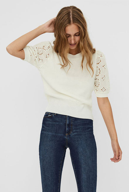 VERO MODA FLOWERS O-NECK BLOUSE