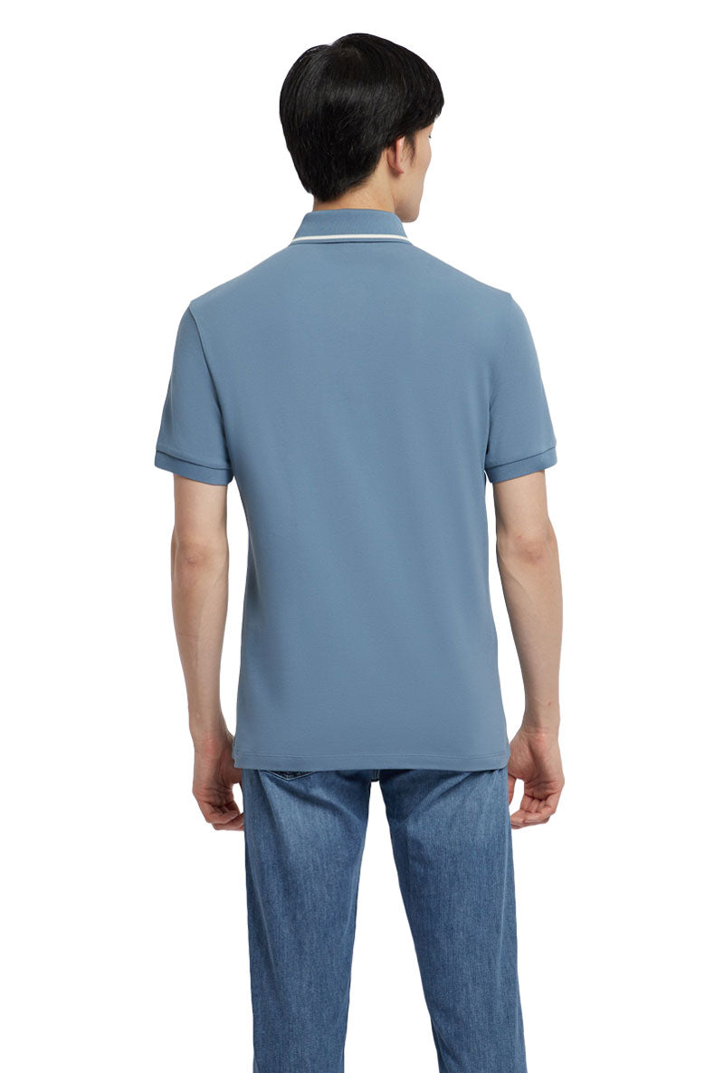 EMPORIO ARMANI STRETCH COTTON POLO PIQUE SHIRT