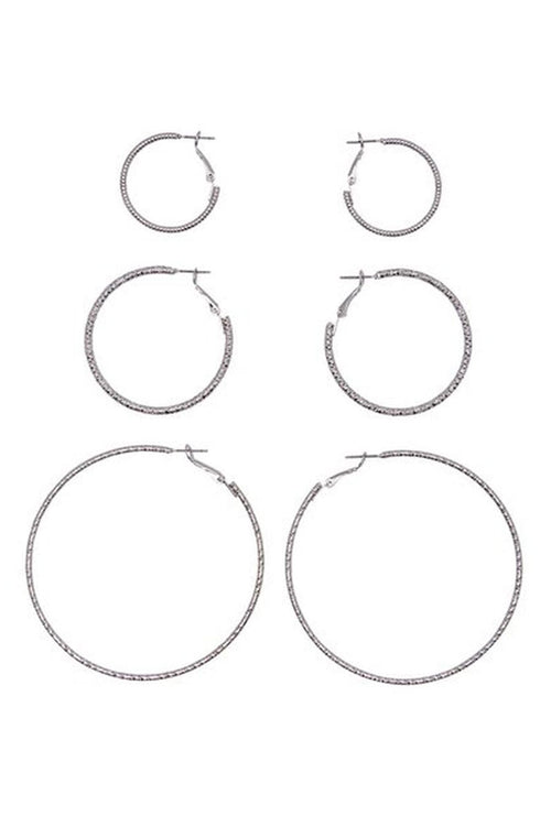 HELLE 3 PACK CREOL EARINGS-London Clothing Company ®