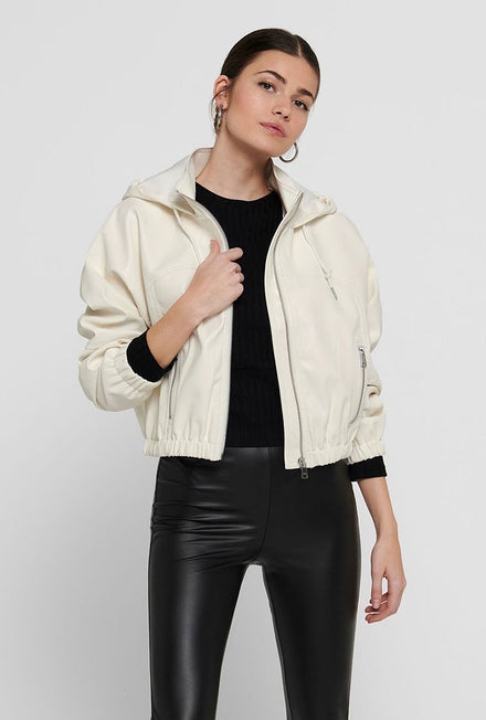ONLY MONICA FAUX LEATHER HOOD JACKET