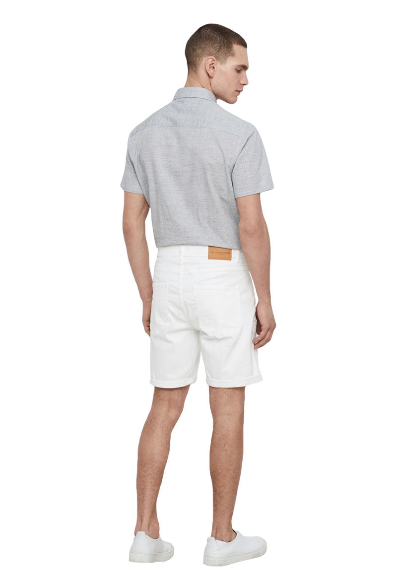 SOLID REGULAR WHITE DENIM SHORTS