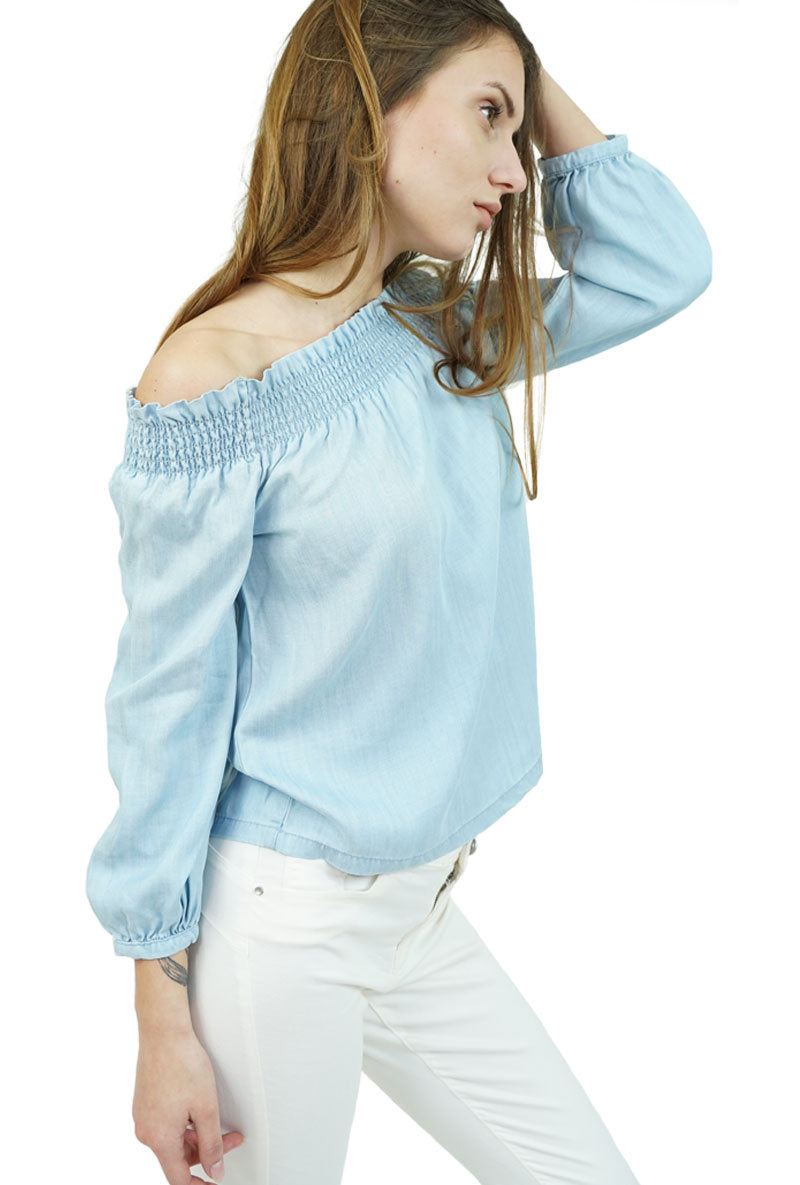 ONLY SAMANTHA OFF SHOULDER DENIM TOP