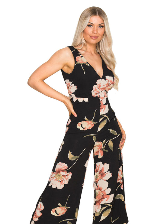 POLLY FLORAL CULOTTE JUMPSUIT-London Clothing Company ®
