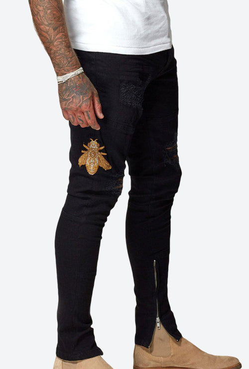 EMBROIDERED BEE JEAN-London Clothing Company ®
