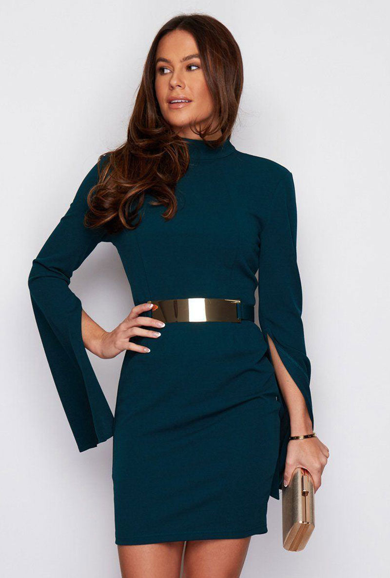 GIRL IN MIND CARA CAPED SLEEVE BELTED MINI DRESS