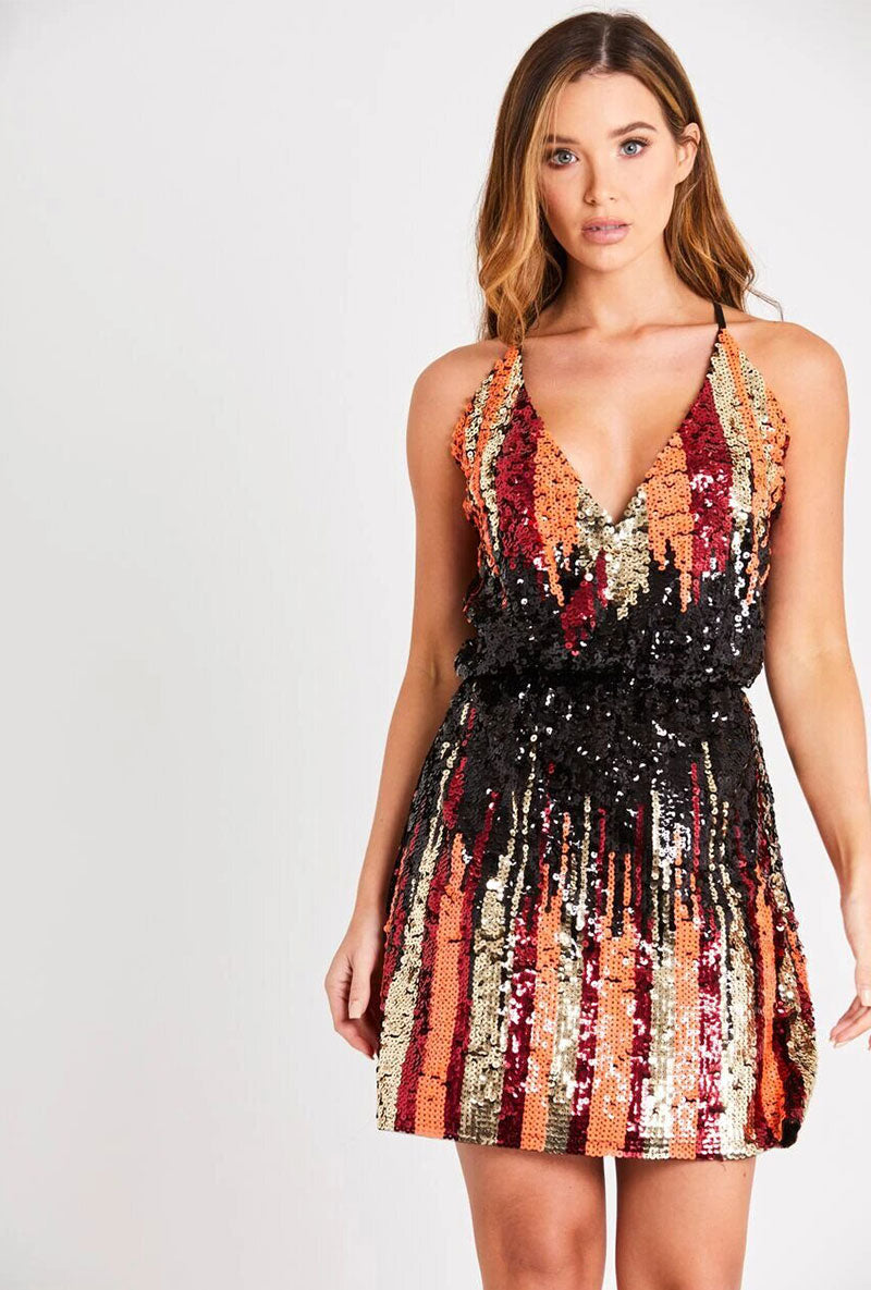 SKIRT AND STILETTO FLORENCE MULTI SEQUIN DRESS