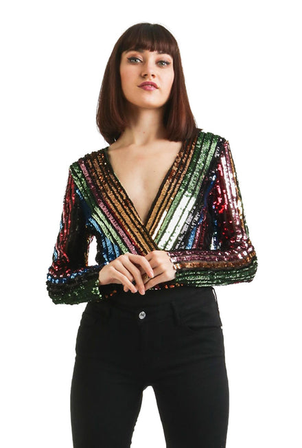GIRL IN MIND STRIPE SEQUIN BODYSUIT