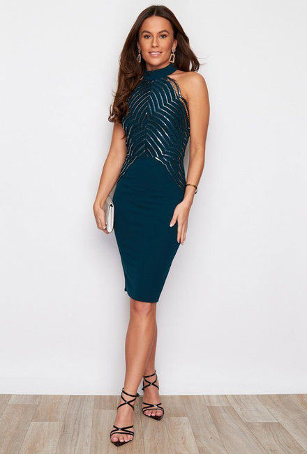 GIRL IN MIND MARINA SEQUIN MIDI DRESS