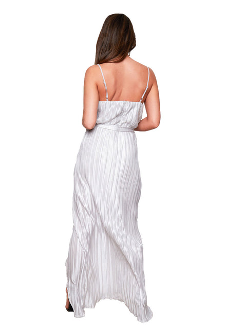 GIRL IN MIND MIA PLEATED SILVER MAXI DRESS