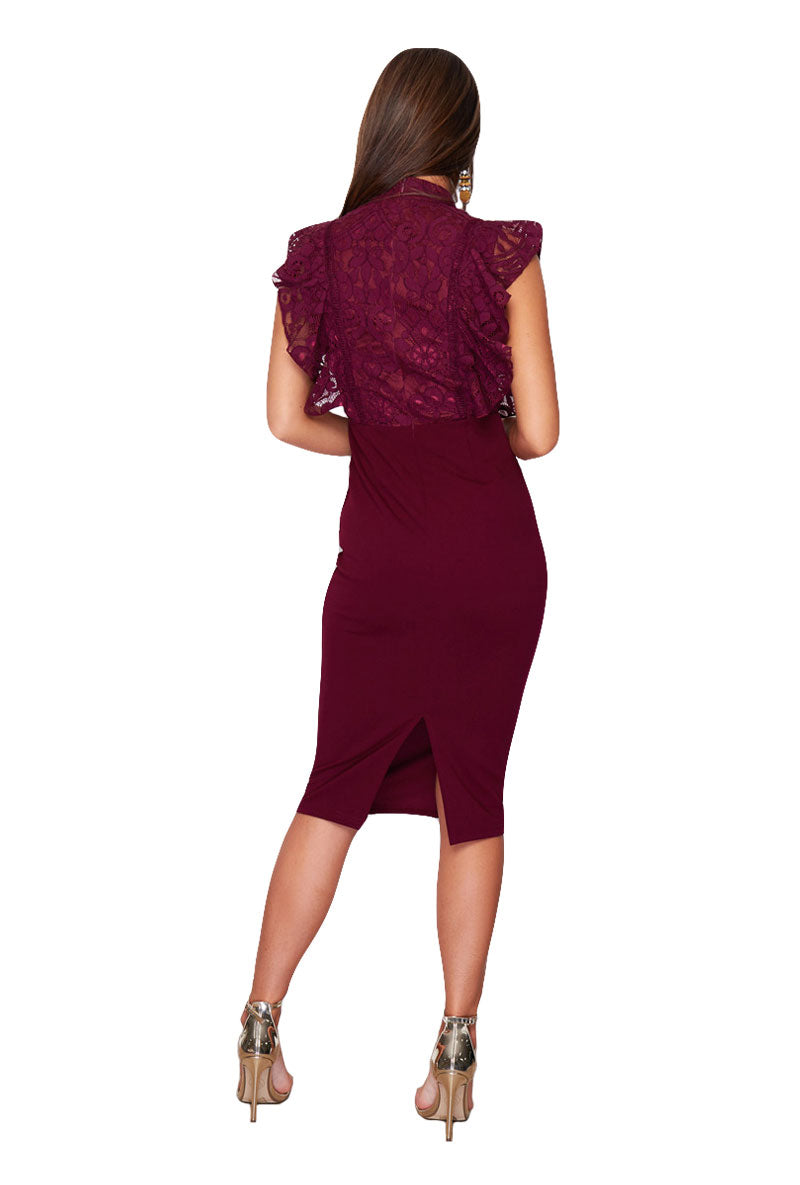 GIRL IN MIND DANIELLE HIGH NECK MIDI DRESS