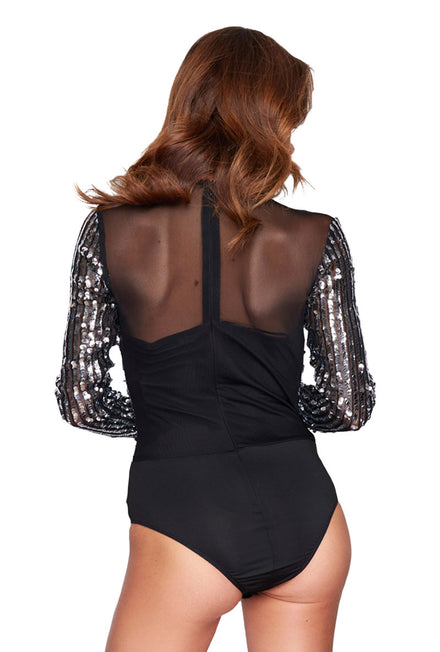 GIRL IN MIND WRAP V NECK SEQUIN BODYSUIT