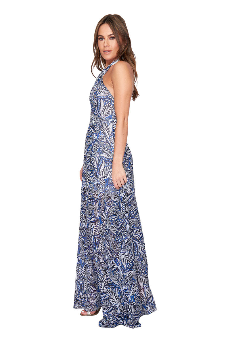 GIRL IN MIND JOANNA CROSS HALTERNECK MAXI DRESS