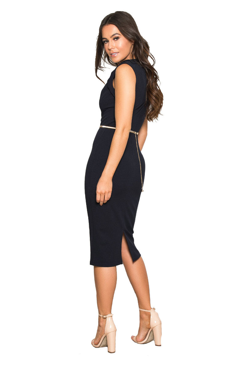 GIRL IN MIND KALIA STRUCTURED BELTED MIDI DRESS