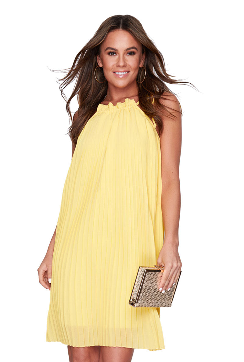 NATALIE PLEATED MINI SHIFT DRESS