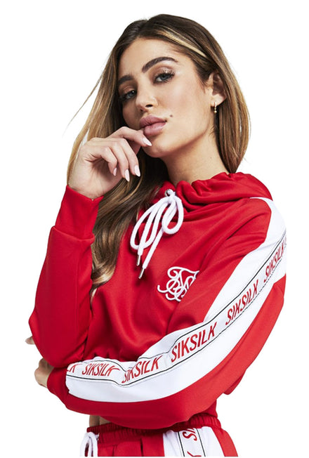 SIKSILK 90S PANEL POLY CROPPED HOODIE