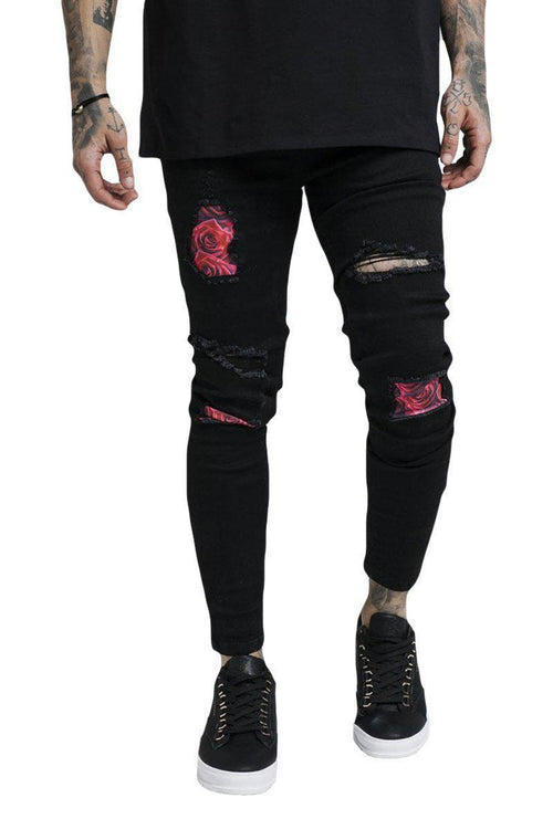 BUST KNEE ROSE DENIM-London Clothing Company ®