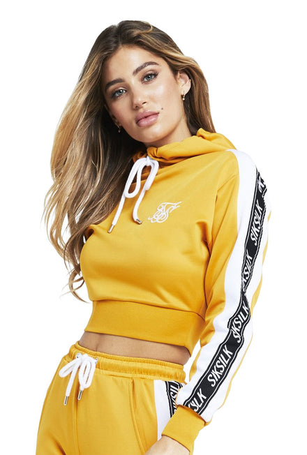 SIKSILK CROPPED 90S PANEL POLY HOODIE