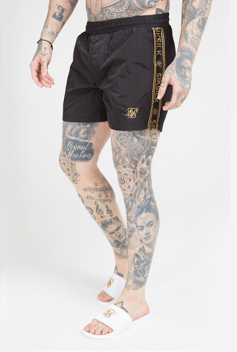 SIKSILK CRUSHED NYLON III TAPE SHORTS