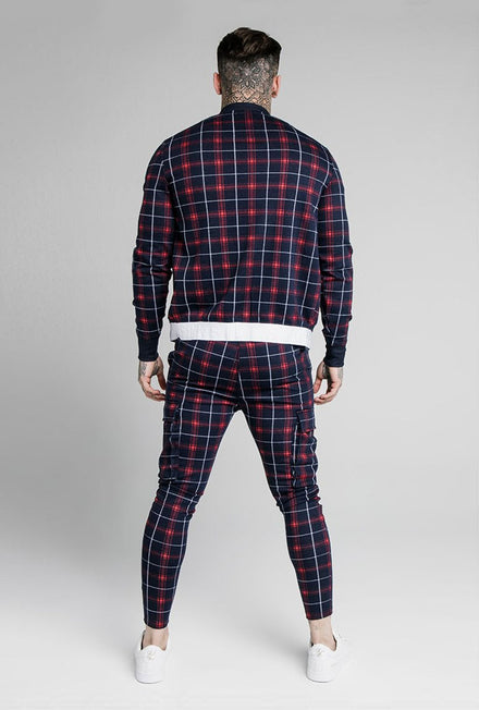 SIKSILK JACQUARD CHECK BOMBER JACKET