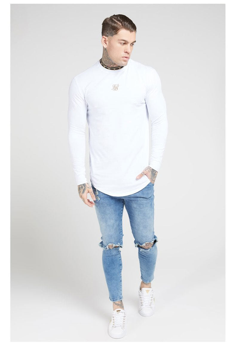 SIKSILK CHAIN TAPE COLLAR GYM TEE