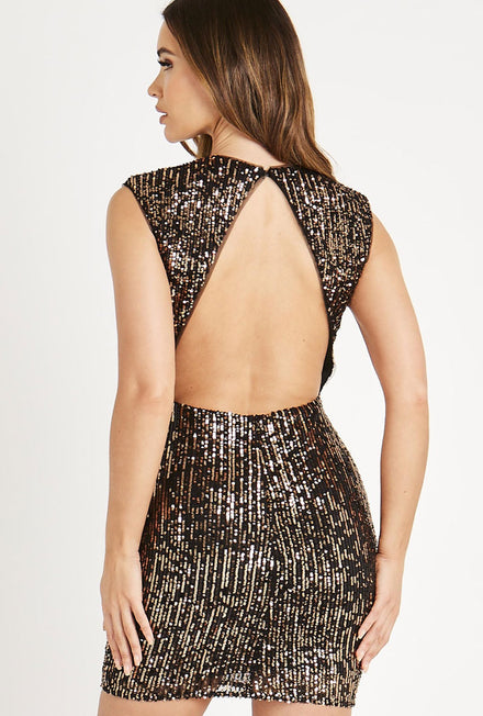 SKIRT AND STILETTO TIA SEQUIN BACKLESS DRESS