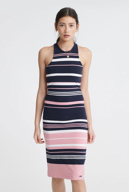 VERIGATED STRIPE MIDI DRESS