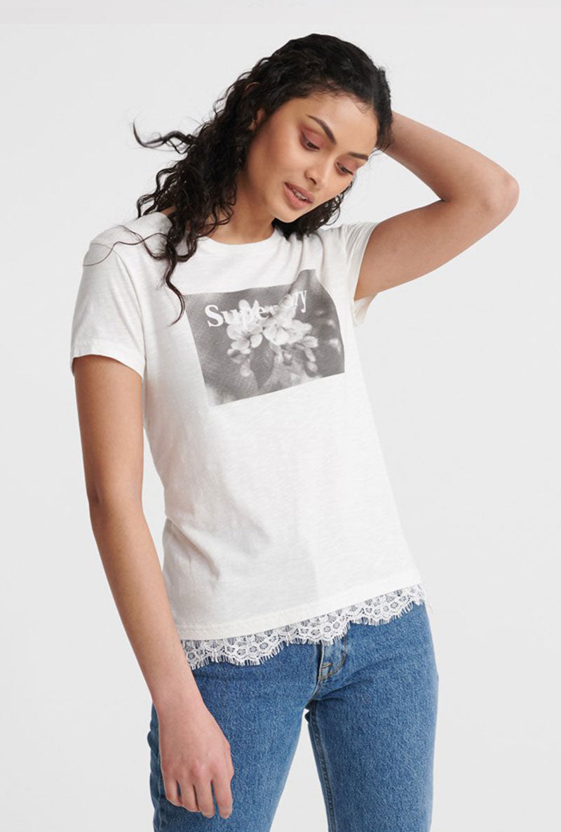 SUPERDRY TILLY LACE GRAPHIC TEE