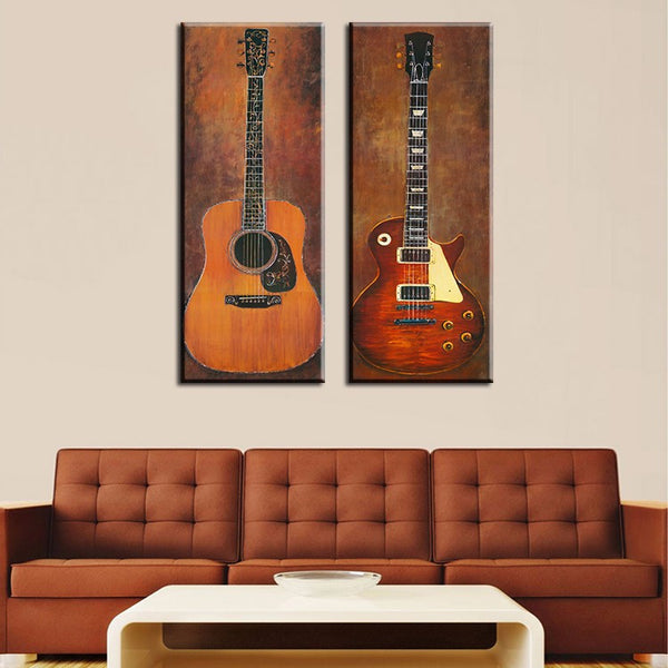 Guitar Oil Painting Art Canvas (2pcs) - The Guitar Yard