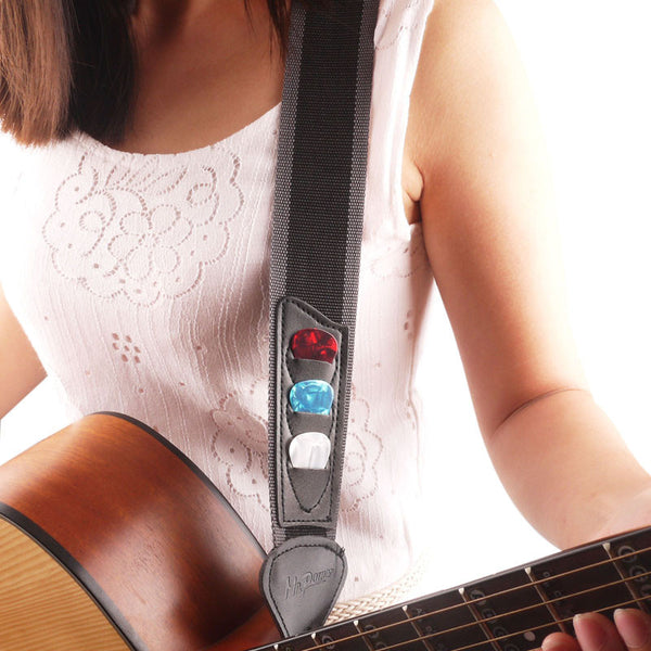 Multifunctional Nylon Guitar Strap with Pick Holder + 3 Picks - The Guitar Yard