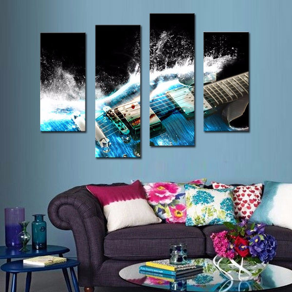 Blue Guitar Waves (4 pcs Wall Art Painting On Canvas) - The Guitar Yard