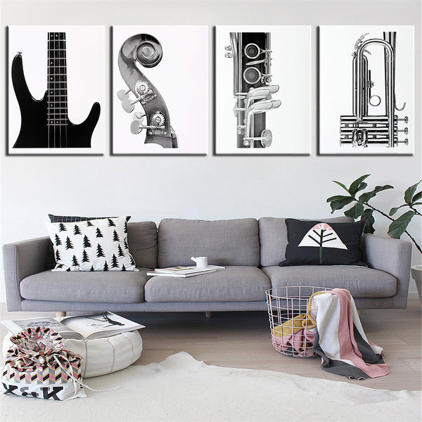 White and Black Abstract Guitar Oil Painting Canvas (4pcs) - The Guitar Yard