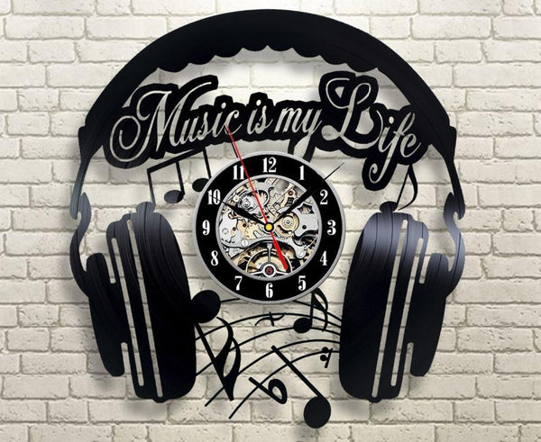 Music Is My Life Vinyl Record Wall Clock - The Guitar Yard