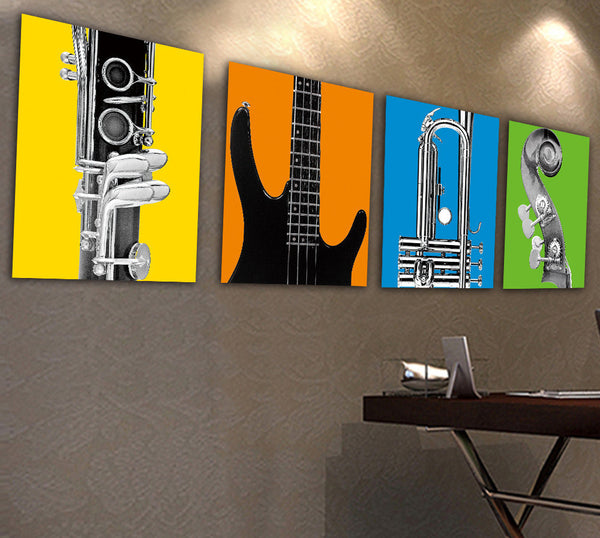 Colourful Musical Instruments Oil Painting Canvas (1pc) - The Guitar Yard