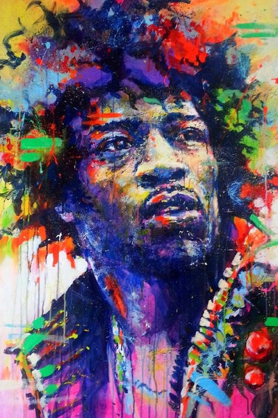 Jimi Hendrix Silk Poster Home Decor