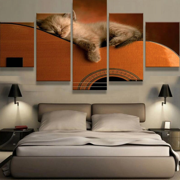 Kitten on Classical Guitar Wall Art (5pcs)