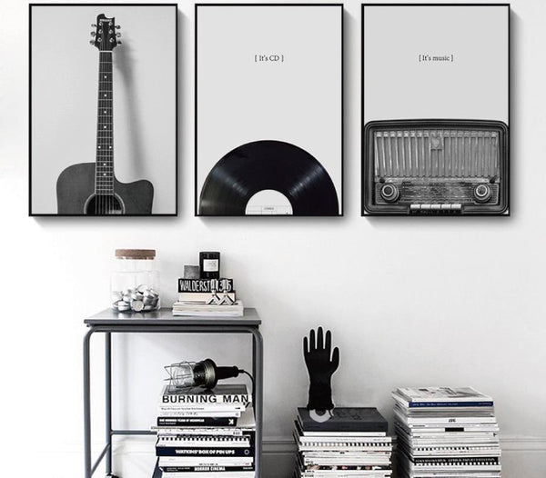 Vintage Guitar / Vinyl / Radio Wall Art Canvas - The Guitar Yard
