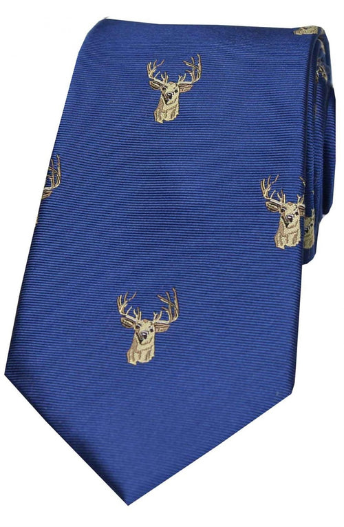 Soprano Stags Heads On Blue Ground Country Silk Tie