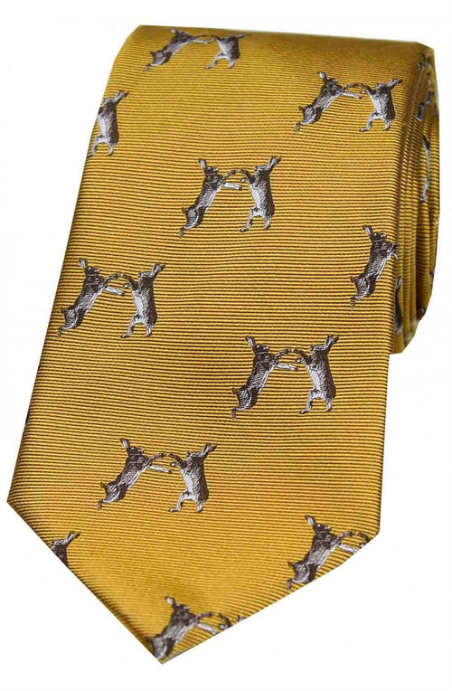 Soprano Boxing Hares On Gold Ground Country Silk Tie