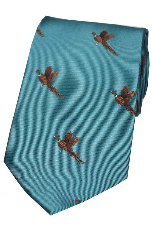 Flying Pheasants On Cyan Ground Country Silk Tie