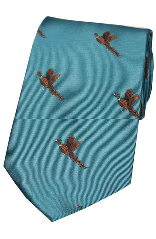 Boxing Hares on Red Ground Country Silk Tie