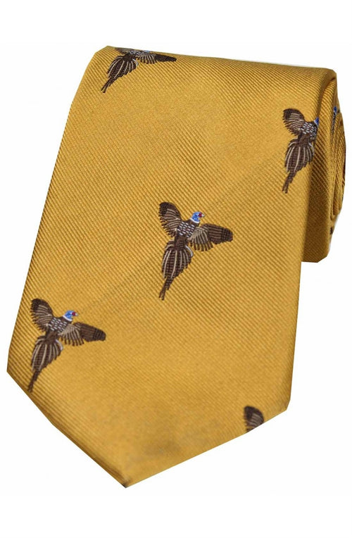 Flying Pheasants On Gold Ground Country Silk Tie