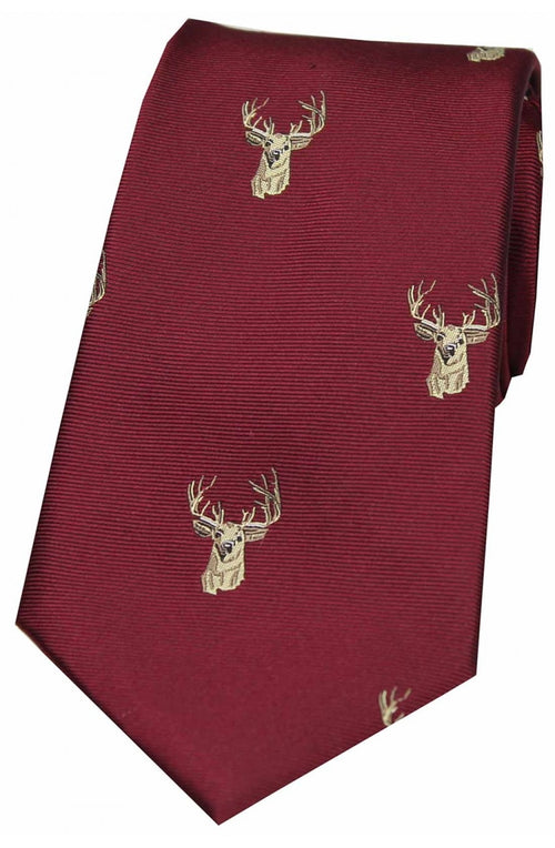 Soprano Stags Heads Wine Ground Country Silk Tie